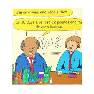 850ワインおよび野菜のダイエットの漫画 ノートパッド