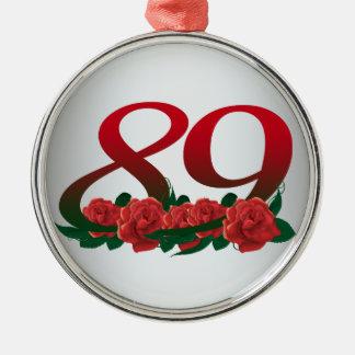 89/花第89誕生日の赤い花番号を付けて下さい メタルオーナメント