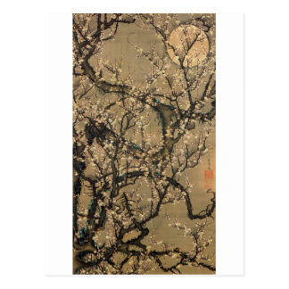 8. 梅花晧月図、若冲の月およびプラム花、Jakuchū ポストカード