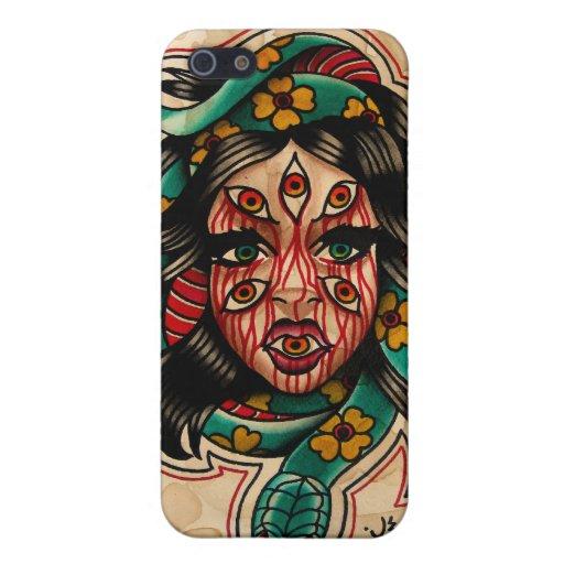 8 注目される 入れ墨 スタイル 水彩画 女の子 ヘビ iPhone 5 COVER