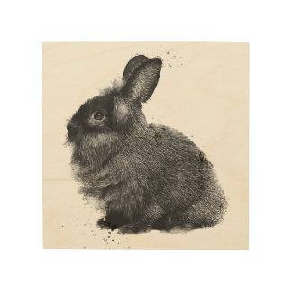 "8"" x 8"" Lionheadの黒いウサギのポートレート ウッドウォールアート"