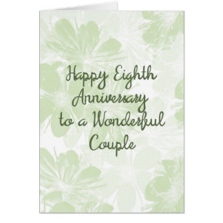 8th Wedding Anniversary Card Green Flowers カード