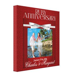 8x8インチ第40のルビー色の結婚記念日の赤のダマスク織 キャンバスプリント