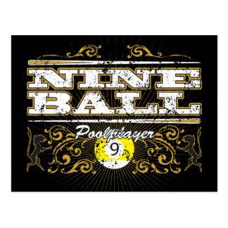 9つの球のヴィンテージのデザイン ポストカード