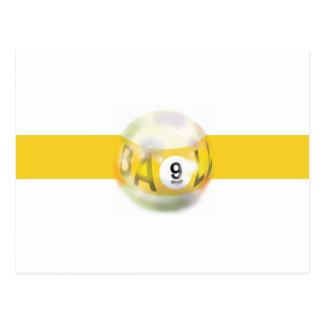 9つの球の黄色いストライプ ポストカード