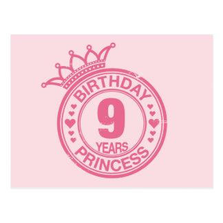 9年-誕生日のプリンセス-ピンク ポストカード