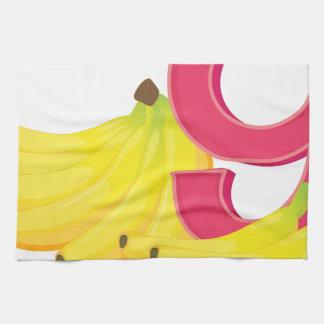 9本の熟したバナナ キッチンタオル