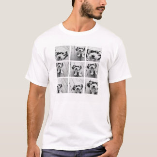 9白黒正方形の写真のコラージュ- Tシャツ