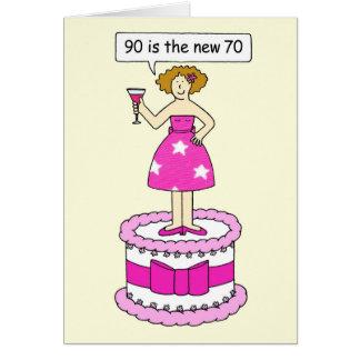 90は新しい70人の女性年齢の誕生日のユーモアです グリーティングカード