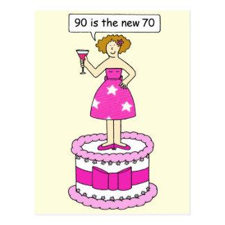 90は新しい70人の女性年齢の誕生日のユーモアです ポストカード