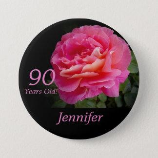 90歳、ピンクのバラボタンPin 缶バッジ
