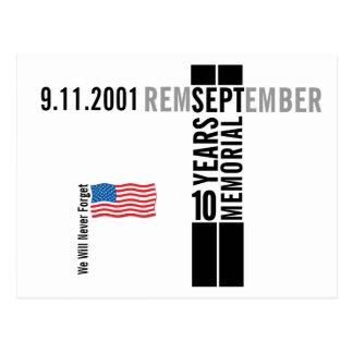 911記念の旗の郵便はがき10年の2覚えて下さい ポストカード