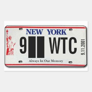 911記念NYのナンバープレートのステッカー2 長方形シール