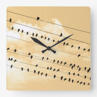 91 (1)鳥 スクエア壁時計