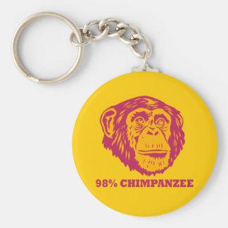 98%のチンパンジー ベーシック丸型缶キーホルダー