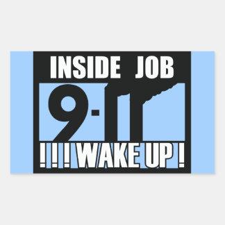 9-11中仕事は- 911真実、trutherを目覚めます 長方形シール