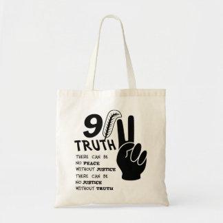 9-11真実正義のない平和無し トートバッグ