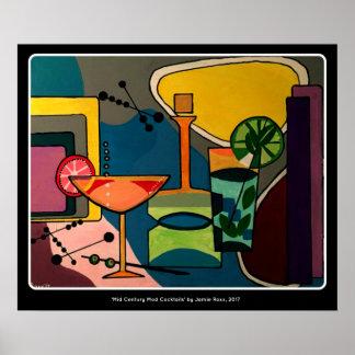 aで絵を描く「世紀半ばモダンなカクテル」の ポスター