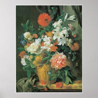 Aのテラコッタつぼの1720年代の花 ポスター