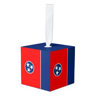 aの動的テネシー州の州の旗のグラフィック キューブオーナメント