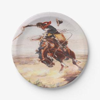 Aの強く反対する馬のパーティのプレートに乗っているカウボーイ ペーパープレート