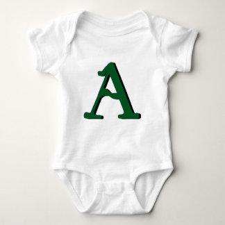 Aの(深緑色の)モノグラムのベビーのワイシャツ ベビーボディスーツ