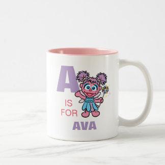 Aは|があなたの名前を加えるAbby Cadabbyのためです ツートーンマグカップ
