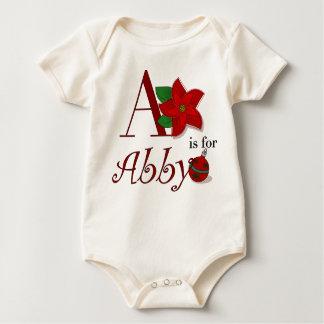 AはAbbyのベビーの初めてのクリスマスのティーのためです ベビーボディスーツ
