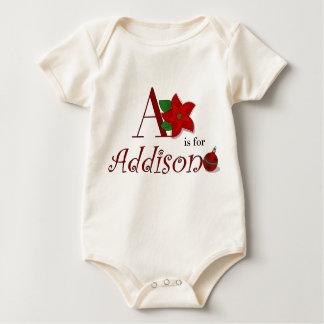 AはAddisonのベビーの初めてのクリスマスのためです ベビーボディスーツ