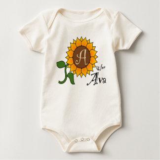 AはAvaのヒマワリのTシャツのためです ベビーボディスーツ