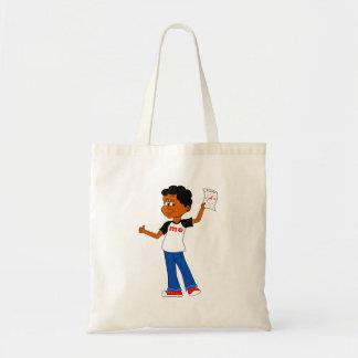 Aを保持している漫画の男の子+ 科学のペーパートートバック トートバッグ
