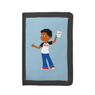 Aを保持している絵の男の子+ 科学のペーパー財布
