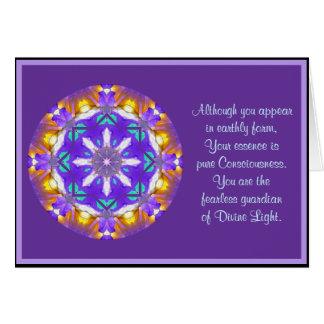 A01目まぐるしい曼荼羅の花柄Design.4 カード