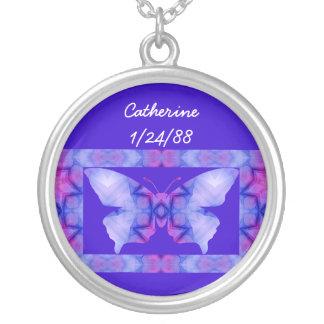A01. 蝶-名前および日付- Necklace.3 シルバープレートネックレス
