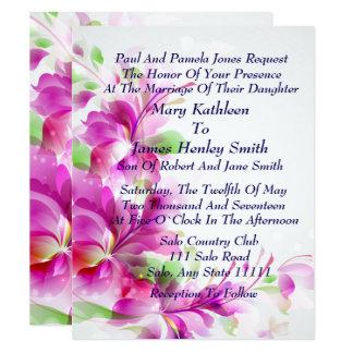 A2ピンクの春の花柄の結婚式招待状 カード