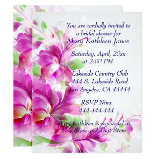 A2ピンクの花柄のブライダルシャワーの招待状 カード