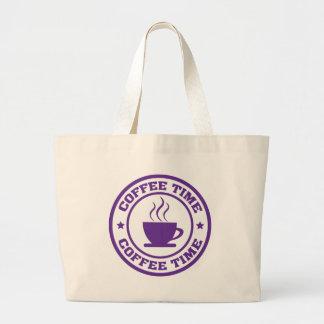 A251コーヒー時間円の紫色 ラージトートバッグ