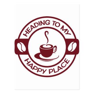 A257幸せな場所のコーヒーバーガンディ ポストカード