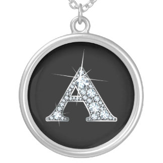 """""""A""""のダイヤモンドのきらきら光るなネックレス シルバープレートネックレス"""