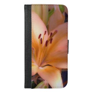 A -美しい影で覆われたオレンジユリ iPhone 6/6S PLUS ウォレットケース