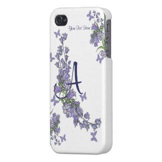 A -青い鐘及び蝶例の精通したiphone 4ケース iPhone 4/4S ケース
