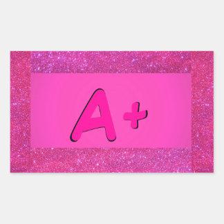 A+ ABCの原色のピンクのステッカー5a 長方形シール