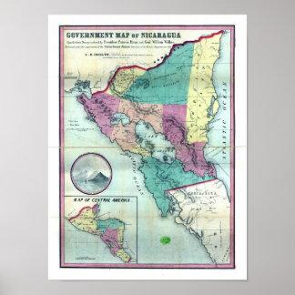 A.H.ジョセリン著ニカラグアの1856年の政府の地図 ポスター