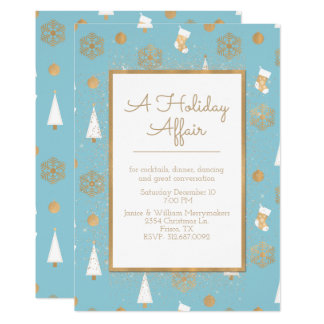 A Holiday Affair Blue and Gold Party Invitation 12.7 X 17.8 インビテーションカード