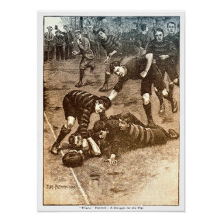 A Struggle For The Try - Vintage Rugby Print ポスター
