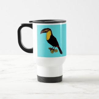 A YELLOW-THROATED TOUCANのヴィンテージの鳥のイメージ、 トラベルマグ