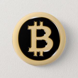 AA568 Bitcoin作の金ゴールド記号 5.7cm 丸型バッジ