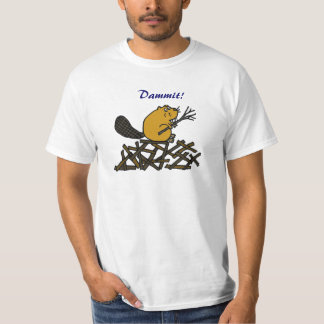 AA-おもしろいなビーバーのDammitワイシャツ Tシャツ