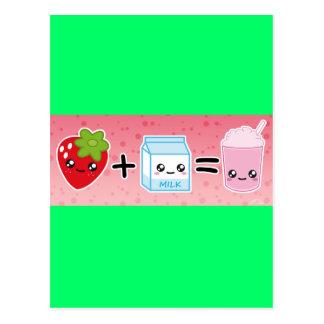 aardbei +melk =ミルクセーキ ポストカード