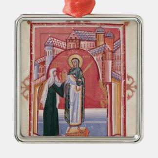 Abbessのヒルダの提供 シルバーカラー正方形オーナメント